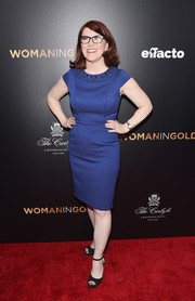 Kate Flannery donned a cobalt sheath dress with a bejeweled neckline for the 'Woman in Gold' premiere.