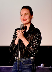 Brie Larson was punk-chic in a printed leather jacket at the screening of 'The Hunting Ground.'