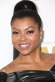 Taraji P. Henson rocked a tight, towering ponytail at the 2016 Crystal + Lucy Awards.