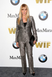 Rosanna Arquette donned a patterned silver pantsuit by Max Mara for the 2016 Crystal + Lucy Awards.