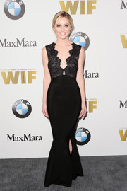 Greer Grammer looked very shapely in her black lace-bodice mermaid gown at the 2016 Crystal + Lucy Awards.