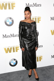 Taraji P. Henson was punk-glam in a ruched black vinyl off-the-shoulder dress by Marc Jacobs at the 2016 Crystal + Lucy Awards.