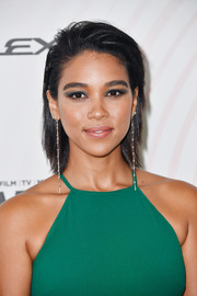 Alexandra Shipp was punk-glam with her choppy layers at the 2018 Crystal + Lucy Awards.