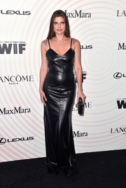 Lake Bell went for edgy glamour in a black leather slip gown at the 2018 Crystal + Lucy Awards.