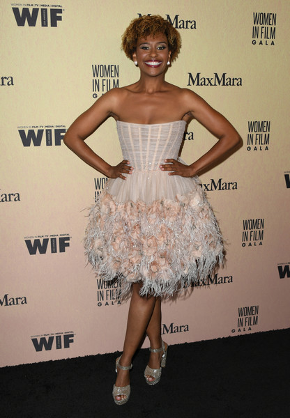 More Pics of Ryan Michelle Bathe Platform Sandals (2 of 4) - Ryan Michelle Bathe Lookbook - StyleBistro [women in film annual gala 2019,arrivals,ryan michelle bathe,clothing,dress,cocktail dress,strapless dress,hairstyle,shoulder,fashion,premiere,waist,footwear,california,beverly hills,the beverly hilton hotel,max mara]