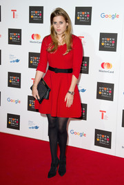 Princess Beatrice wore a cute red skater dress by Milly to the Women in the World Summit.
