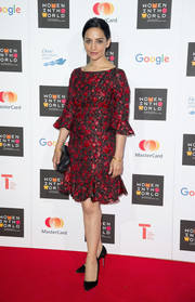 Archana Panjabi looked very feminine at the Women in the World Summit in a floral dress with a fluted hem and sleeves.