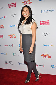 America Ferrera chose an elegant high-waisted pencil skirt to top off her evening look at the Women in the World Summit in NYC.