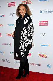 We just love Diane von Furstenberg's black-and-white geometric-print coat, don't you?
