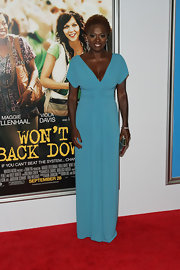 Viola Davis looked splendid in her blue V-neck gown at the 'Won't Back Down' premiere.