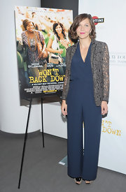 Maggie Gyllenhaal rocked a sleek jumpsuit and lace blazer for the 'Won't Back Down' screening in NY.