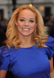 Liz Mcclarnon looked super feminine at the premiere of 'It's a Wonderful Afterlife' with her windswept curls.