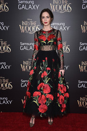 Emily Blunt looked appropriately magical in a gorgeous floral-embroidered, sheer-bodice frock by Dolce & Gabbana at the premiere of 'Into the Woods.'