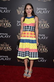 Zoe Kazan sported a fun and vibrant mix of prints with this colorful Novis dress at the 'Into the Woods' premiere.