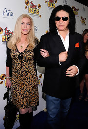 Shannon Tweed went out to see the Cirque Du Soleil premiere wearing a leopard print dress.