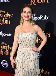 Hayley Atwell paired a gold clutch with a strapless dress for the world premiere of 'Christopher Robin.'