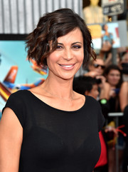 Catherine Bell attended the premiere of 'Planes: Fire & Rescue' wearing a finger wave-inspired 'do.