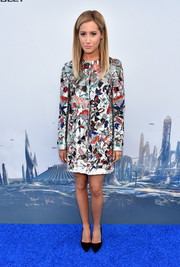 Ashley Tisdale looked very high-fashion in an intricately embellished Alice + Olivia coat during the world premiere of 'Tomorrowland.'
