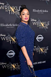 Tessa Thompson complemented her beaded dress with an eye-catching diamond ring when she attended the premiere of 'A Wrinkle in Time.'