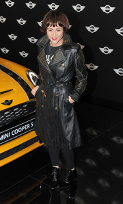 Jaime Winstone oozed a rock-star vibe in a studded black leather coat during the new Mini world premiere.