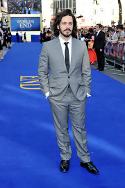 Edgar Wright stuck to a classic gray suit with a solid black tie for the premiere of 'The World's End.'
