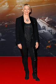 Amanda Keller put a rocker-chic spin on a classic black tux by teaming it with a studded shirt and boots when she attended the 'World War Z' Australian premiere.