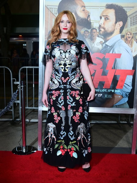 Christina Hendricks chose a Temperley London gown that featured intricate symmetrical embroidery for the world premiere of 'Fist Fight.'