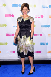 Cindy Levy wore a printed silk navy dress to the Worldwide Orphans 11th Annual Gala