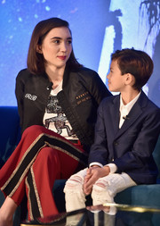 Rowan Blanchard was casual and trendy in a personalized bomber jacket by Vans at the press conference for 'A Wrinkle in Time.'