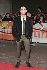 Logan Lerman looked like a preppy schoolboy in his chinos and pea coat at the premiere of 'Writers.'