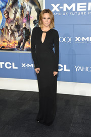 Keltie Knight exuded classic sophistication at the 'X-Men' world premiere in a long-sleeve black evening dress with a keyhole neckline.
