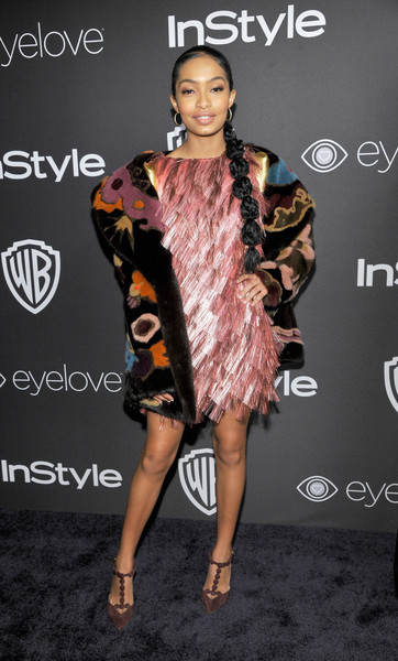 Yara Shahidi Fur Coat [fashion model,flooring,catwalk,fashion,shoulder,carpet,fashion show,fashion design,cocktail dress,fur,yara shahidi,beverly hills,california,the beverly hilton hotel,instyle,red carpet,warner bros. 73rd annual golden globe awards,warner bros. 73rd annual golden globe awards post-party]