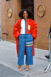 Yara Shahidi was a visual feast in her multicolored Thom Browne button-down top while out in Manhattan.