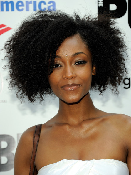 Yaya DaCosta Short Curls [shakespeare in the park gala,hair,hairstyle,black hair,eyebrow,shoulder,human,long hair,jheri curl,lace wig,ringlet,actress,yaya dacosta,model,new york city,delacorte theater]