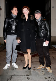 Domenico Dolce showed off his winter outfit in a dashing leather coat.
