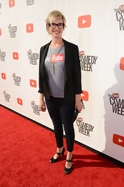 Danielle Tiedt wore skinny jeans with a YouTube shirt and a blazer for her red carpet look during 'The Big Live Comedy Show.'