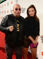 Rachel Mullins layered a black cropped jacket over a ruffle blouse for a stylish finish at 'The Big Live Comedy Show.'