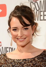 Milana Vayntrub sported a messy-glam updo at 'The Big Live Comedy Show.'