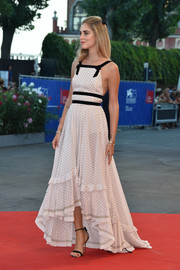 Chiara Ferragni went for easy glamour in a black-and-white pin-dot gown by Philosophy di Lorenzo Serafini at the Venice Film Festival premiere of 'The Young Pope.'