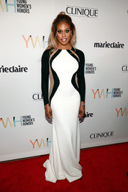 Laverne Cox attended the Marie Claire Young Women's Honors wearing a Mark Zunino gown that featured figure-enhancing side panels.