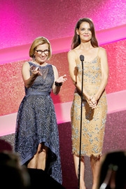 Katie Holmes was classic and chic in a beaded nude lace dress by Michael Kors at the Marie Claire Young Women's Honors.
