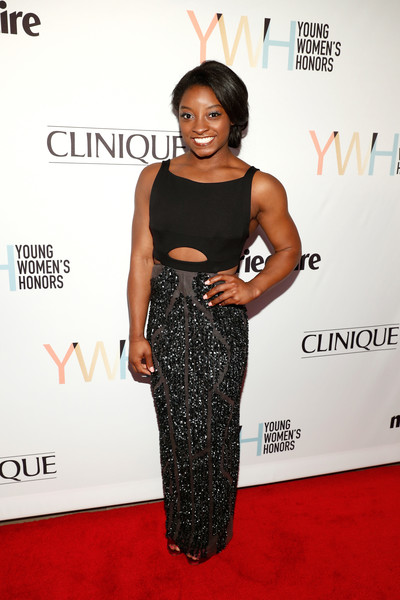 Simone Biles was edgy-glam in a black gown with a midriff cutout and a beaded skirt at the Marie Claire Young Women's Honors.