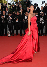 Chanel Iman looked quite the princess at the Cannes premiere of 'Youth' in a red Donna Karan Atelier strapless gown with a super-long train.