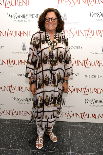 Fern Mallis looked exotic in her printed caftan during the premiere of 'Yves Saint Laurent.'