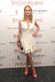 Stephanie March went for an ultra-feminine feel in a ruffle-hem LWD with a plunging neckline during the 'Yves Saint Laurent' premiere.