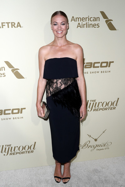 Yvonne Strahovski Box Clutch [the hollywood reporter,clothing,dress,shoulder,strapless dress,cocktail dress,fashion,little black dress,hairstyle,waist,premiere,reporter,arrivals,hollywood,waldorf astoria beverly hills,sag-aftra,american airlines,breguet,dacor,inaugural emmy nominees night]