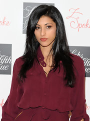Reshma Shetty attended the Zac Posen launch party and showed off her glowing black locks. There's something about brunettes that are very mysterious and wildly sexy.
