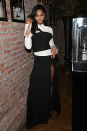 Chanel Iman's black crop-top and white button-down shirt at the Vera Wang Love cocktail soiree were a very cool pairing!