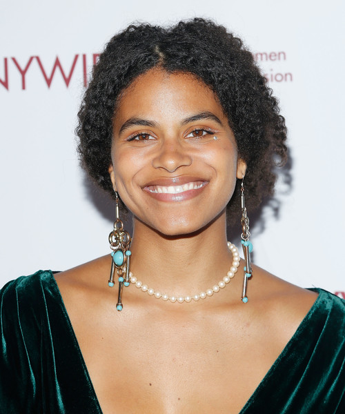 Zazie Beetz Curly Updo [hair,hairstyle,black hair,eyebrow,lip,long hair,smile,jheri curl,lace wig,fashion accessory,zazie beetz,designing women awards,new york city,new york women in film television,new york women in film and television,dga]