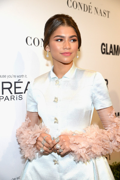 Zendaya Coleman Statement Ring [white,clothing,skin,lady,beauty,fashion,hairstyle,dress,fashion model,neck,red carpet,honoree zendaya,neuehouse hollywood,los angeles,california,glamour women of the year]